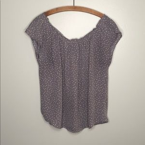 Lauren Conrad Gray Floral Short Sleeve Blouse